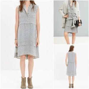 Madewell Willow Leaf Gray Shirtdress